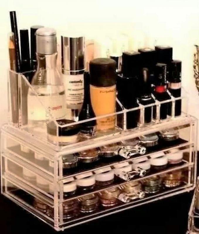 Porta Maquiagem de Acrílico Personalizado Loja de na Água Branca - Porta Maquiagem de Acrílico com Gavetas