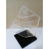 troféu feito de acrílico personalizado Parque das laranjeiras