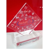 troféu transparente de acrílico para festas preço no Bairro do Limão
