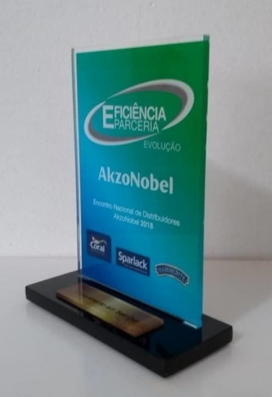 Troféu Acrílico para Premiação Valores Jardim Europa - Troféu de Acrílico para Prêmio